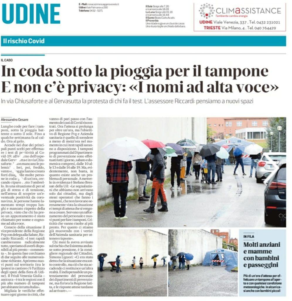 pagina del Messaggero Veneto del 12.10.2020